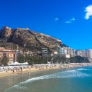 view of the santa barbra castle from Postiguet beach alicante