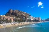 view of the santa barbra castle from Postiguet beach alicante