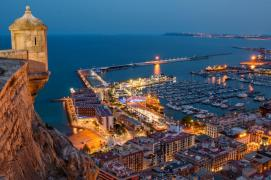 View of alicante from the castle by night
