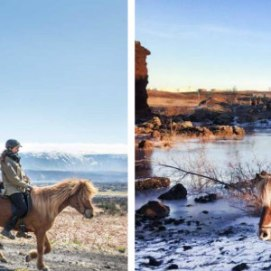 People horseriding in Iceland