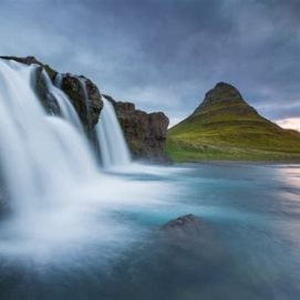 Waterfalls and mountains in Iceland.