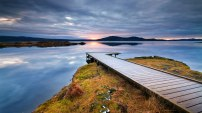 Wooden foot pier in iceland