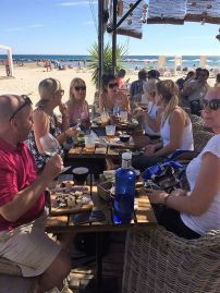 Teachers enjoying dinner on the beach in Alicante on a Smart Teachers Play More course